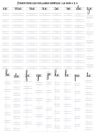 Exercices D Ecriture Cursive Les Syllabes Simples Pour Maternelles Cp Debutants Exercices A Imprimer