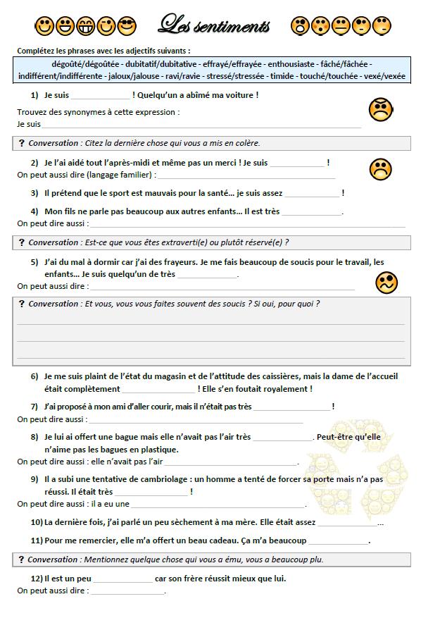 Exercice Fle Les Sentiments Vocabulaire Exercices A Imprimer