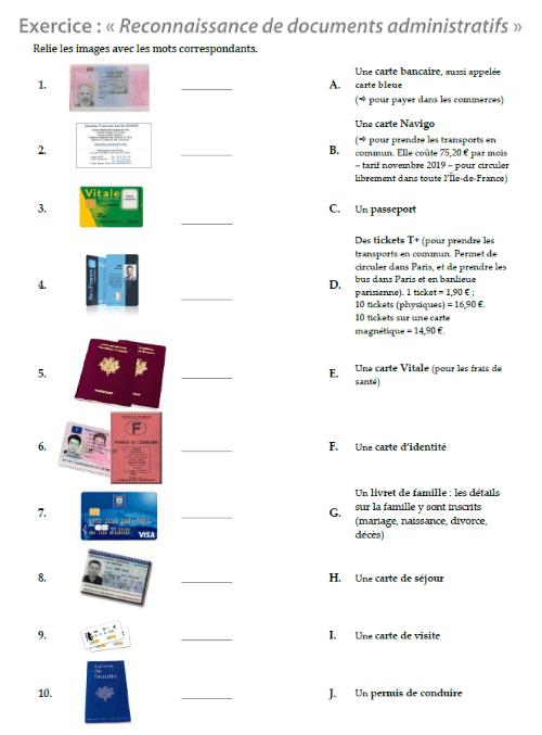 Exercice Reconnaitre Des Documents Administratifs Exercices A Imprimer