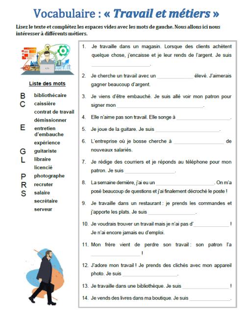"""Vocabulaire : """"Travail et métiers"""" (phrases à trous ..."""