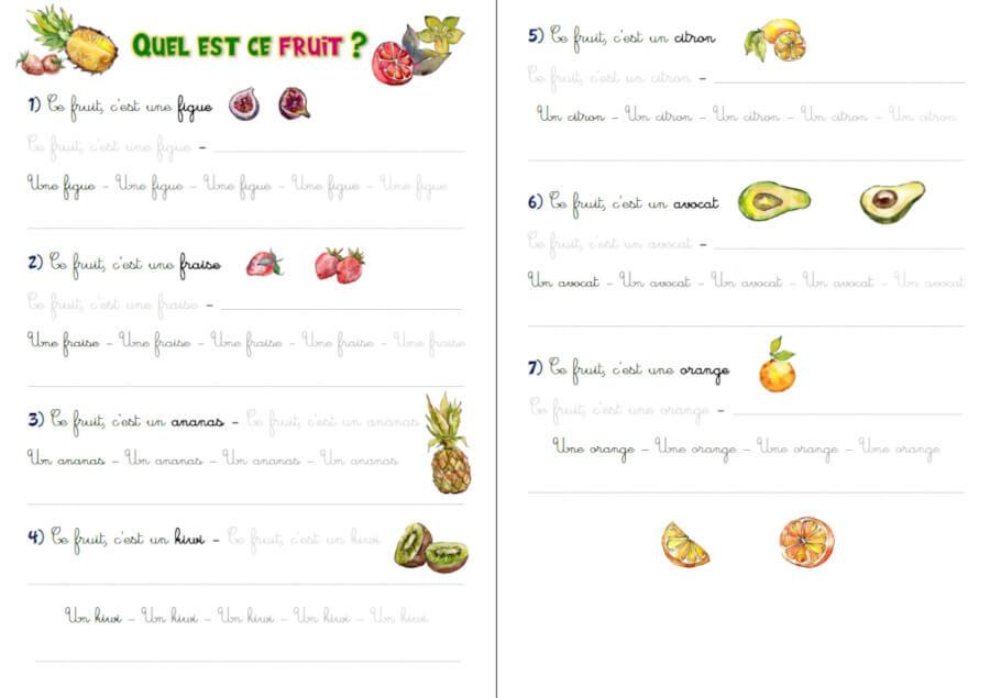 Exercice D Ecriture Cursive Gs Cp Les Fruits Exercices A Imprimer
