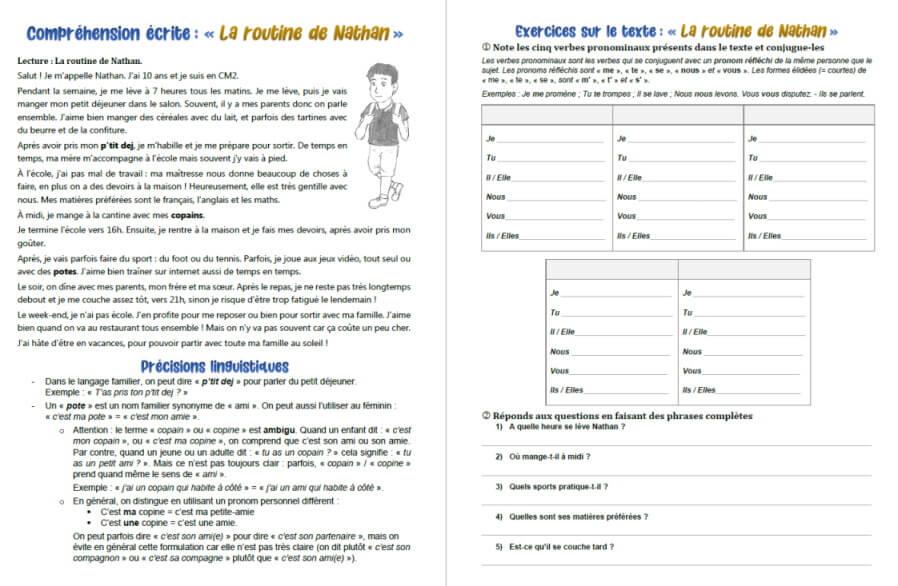 Francais Comprehension Ecrite La Routine De Nathan Texte Et Exercice Sur Les Verbes Pronominaux Exercices A Imprimer